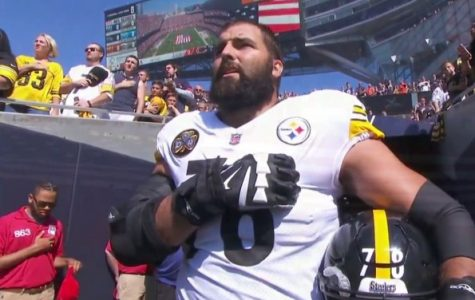 Villanueva standing without his team for the national anthem on Sundays game