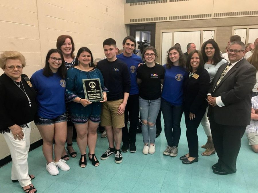 Interact+Club+and+the+advisors+accepting+%22The+Pride+of+Lindenhurst+2018%22+Award+with+Superintendent%2C+Mr.+Giordano.+