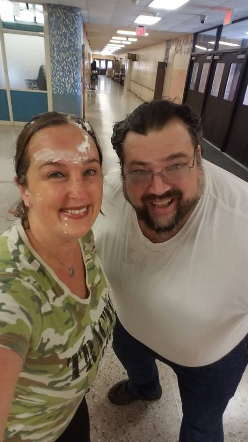 Ms.+Campbell+and+Mr.+Smith+after+they+got+pied+in+the+face+by+their+favorite+students%21
