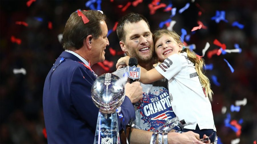 Tom Brady after the Super Bowl with his daughter.
