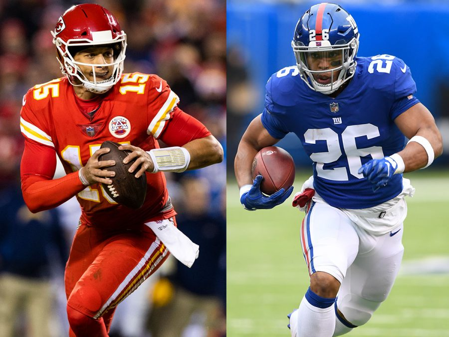 Kansas+City+Chiefs+QB+Patrick+Mahomes+and+New+York+Giants+RB+Saquon+Barkley+