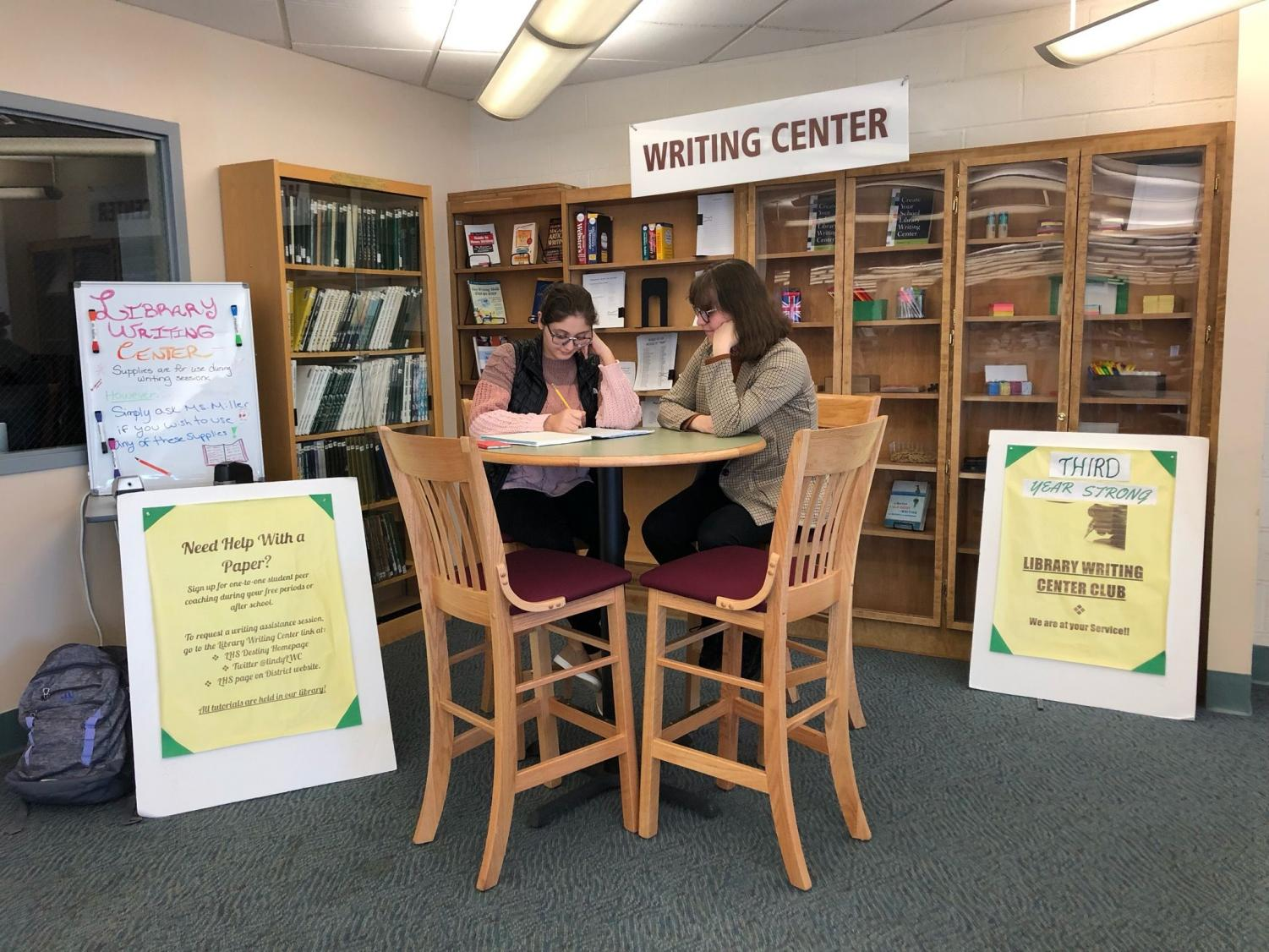 LMC Writing Center located in the Library right here at LHS!
