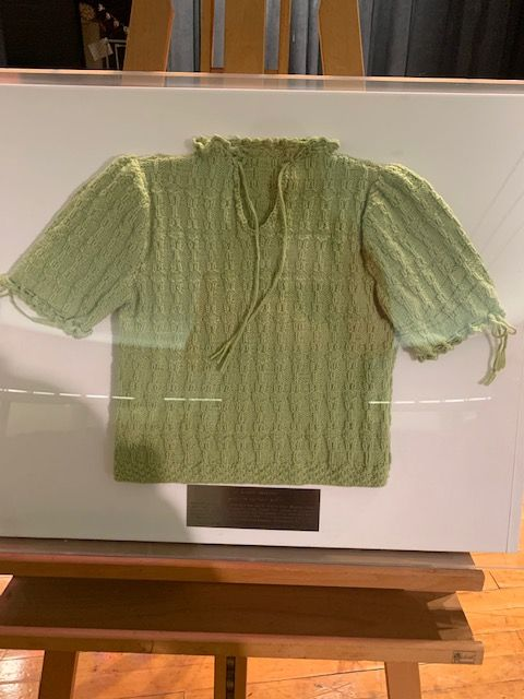 This is a replica of the sweater that Krystyna Chiger wore while hiding in the sewers.