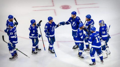 Sep 21, 2020; Edmonton, Alberta, CAN; The Tampa Bay Lightning celebrate the win over the Dallas Stars in game two of the 2020 Stanley Cup Final at Rogers Place. Mandatory Credit: Sergei Belski-USA TODAY Sports