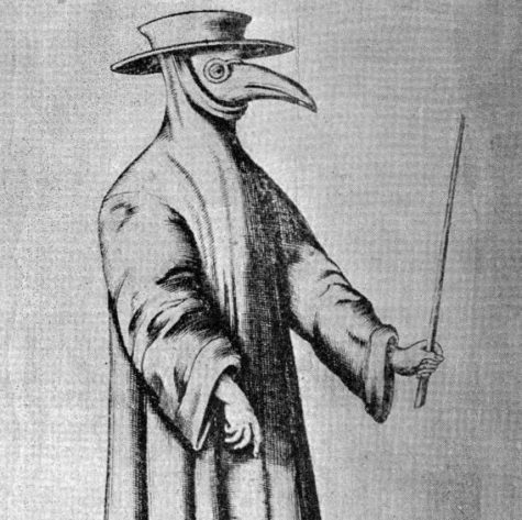 This is a drawing of a medieval plague doctor that would treat The Black Death.