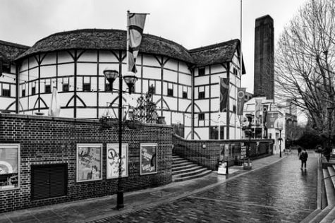 A black and white photo of The Globe Theatre in England. This is the original theatre where Shakespeare put up his plays.